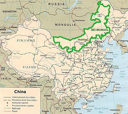 Карта внутренней монголии